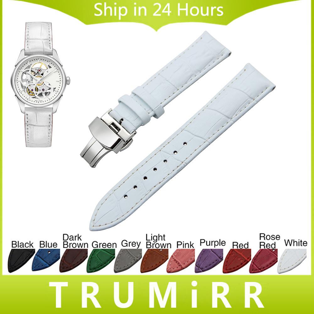 Genuine Leather Watchband Butterfly Buckle Strap for Hamilton Men Women Watch Band Wrist Bracelet 18mm 19mm 20mm 21mm 22mm 24mm replacement cowhide leather common watchband 18mm 19mm 20mm 21mm 22mm men wristwatch band bracelet promotion free tools diy hot