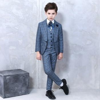 9446fdecc35a4 Longqibao официальный костюм для мальчиков, комплект на одной пуговице,  новый школьный синий клетчатый детский свадебный костюм для подиума, пл.
