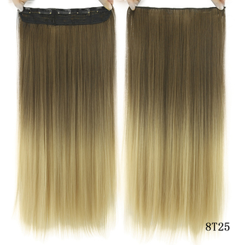 Soowee Long Straight Black to Gray Natural Color Women Ombre Hair High Tempreture Synthetic Hairpiece Clip in Hair Extensions 4