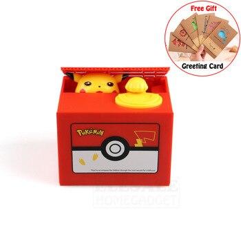 Yüksek Kaliteli Elektronik Para Kutusu Pokemon Pikachu Kumbara Çalmak Sikke Için Otomatik Olarak Çocuklar Arkadaş Doğum Günü noel hediyesi