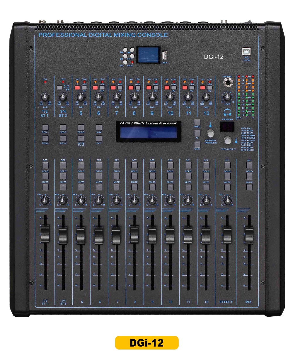 12 channel professional digital mixer dgi 12 with rack mount digital mixing console with. Black Bedroom Furniture Sets. Home Design Ideas