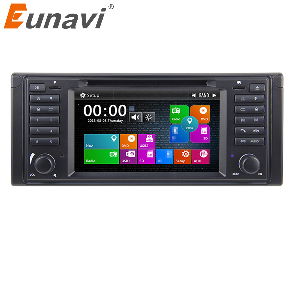 Eunavi 1 Din 7'' Car DVD GPS navigaation Radio Stereo For BMW E39 1996-2003 E53 X5 multimedia player with touch screen swc bt