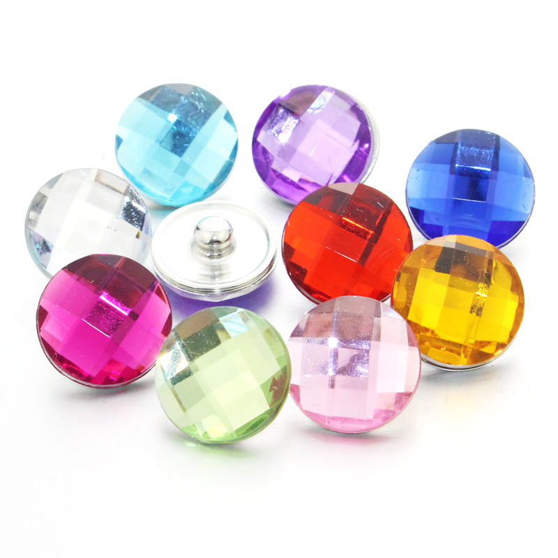 6pcs/lot 18mm Snap Button Natural Crystal Glass Charms High Quality Jewelry For DIY Snap Bracelet Necklace Jewelry Make image
