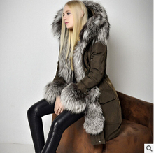 2016 new hot winter Thicken Warm woman Down jacket Coat Parkas Outerwear Hooded fox Fur collar Luxury long plus XL Slim End Cold