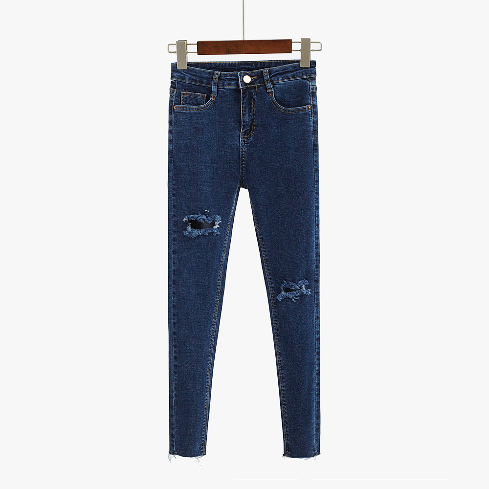 New Spring Summer 2017 High Waist Hole Ripped Jeans Women Denim Pencil Pants Female All-matchSkinny Ankle Length Trouser fashion high waist jeans ankle length denim pants ripped hole jeans casual summer women jeans denim pants jean new tt1138