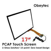 Obeytec 17inch PCAP Projected Capacitive Touch Glass, 16:9, 10 Touches, USB Controller with Ilitek IC, Driver free