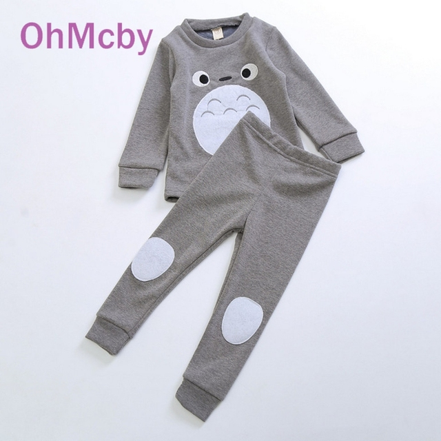 OhMcby Brand Cute Baby Girls Children Clothing Sets Korean Spring Autumn Cotton Cartoon Totoro Long Sleeve Coat Tops Pant Suit