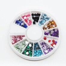 2016 New12 Colors Nail Rhinestones 3mm Acrylic Nail Art Rhinestones Decoration For UV Gel Phone Laptop DIY Nail Tools
