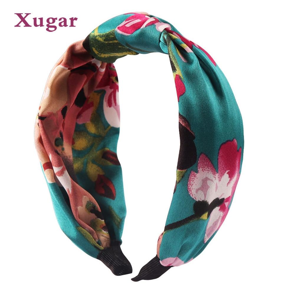 Summer Print Silk Cross Headband For Women Lady Bohemian Party Retro Floral Elastic Turban Bow Hairband Hair Accessories