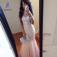 Hot Luxo Strass Frisado Sereia Prom Vestidos O-pescoço Até O Chão Longo Formal Prom Vestidos vestido de festa longo(China (Mainland))