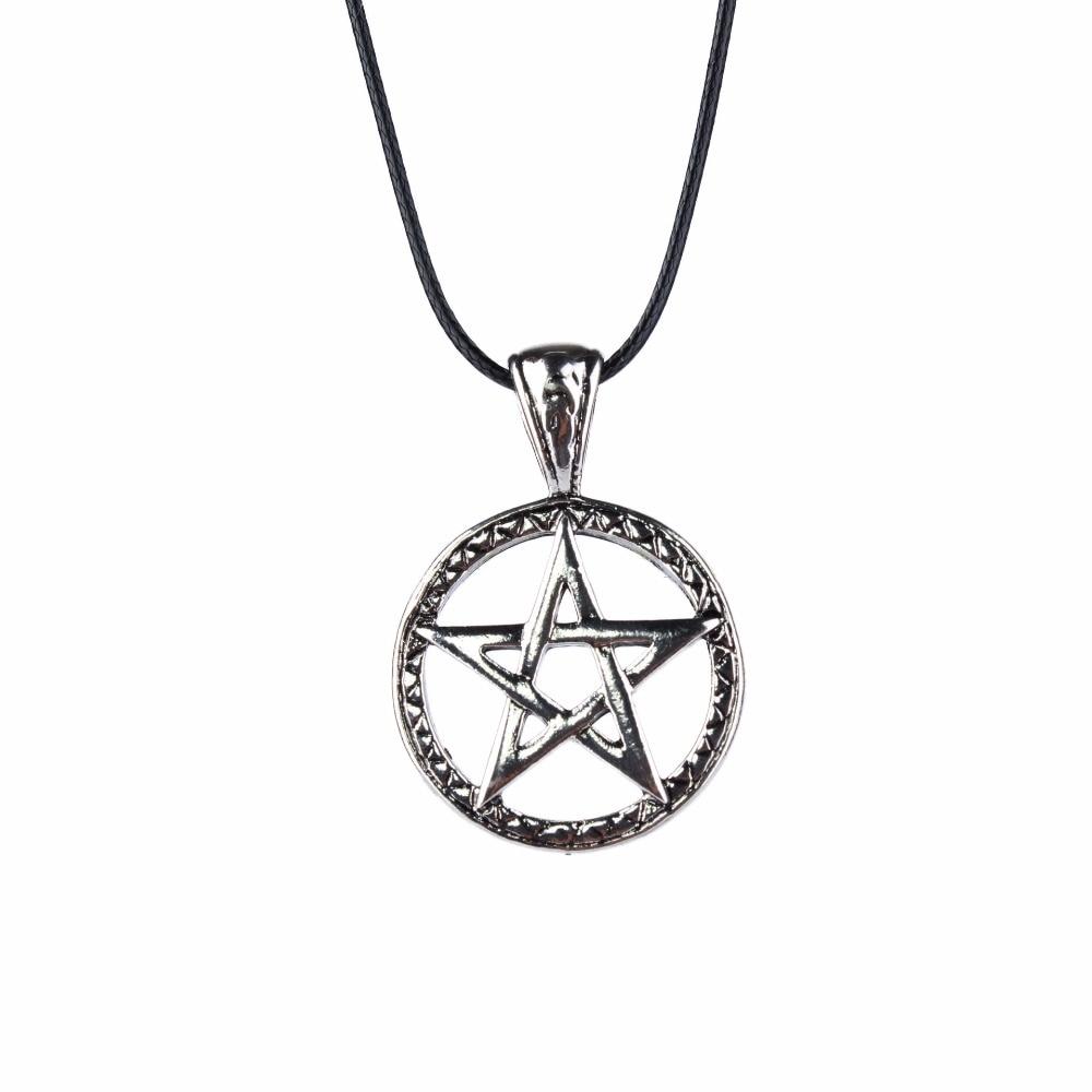 Simple Pentagram Round Shield Necklaces & Pendants