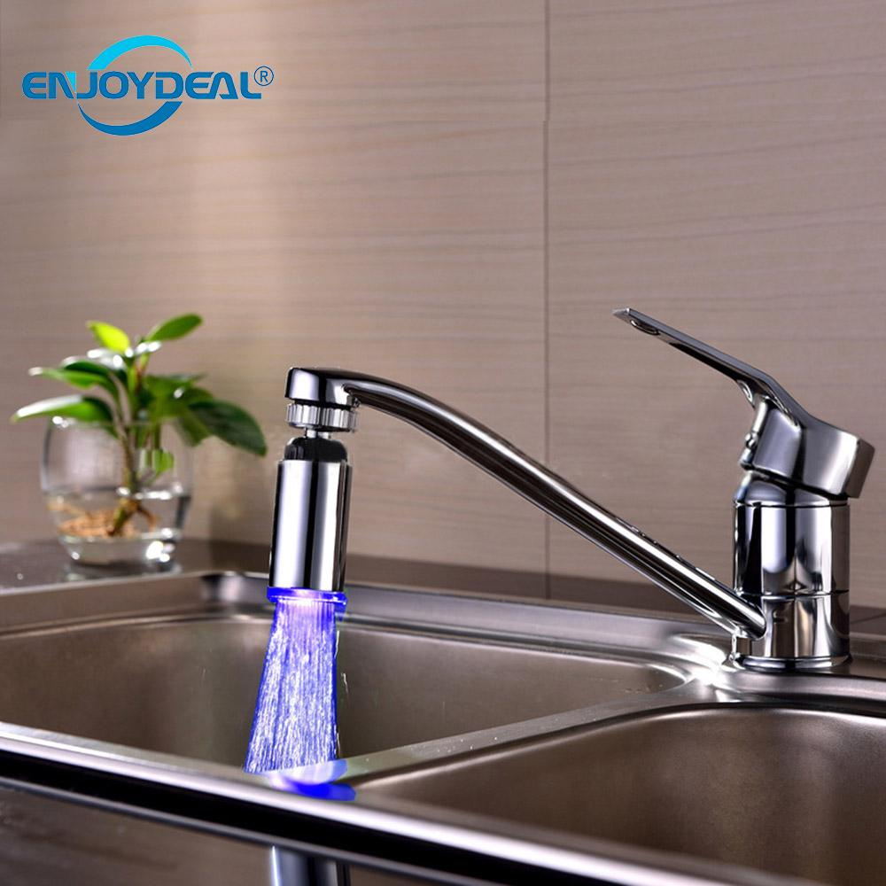 LED 3 Color Light Faucet Extender Temperature Control Water For Bathroom Kitchen Faucet Spouts Water Tap Extension Coloful