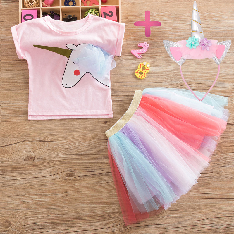 afc782503d6d3 Baby Girls Tutu Dresses Fancy Rainbow Princess Colorful Unicorn  Dress+Headband Christmas Halloween Costume Kids Girl Party Dress