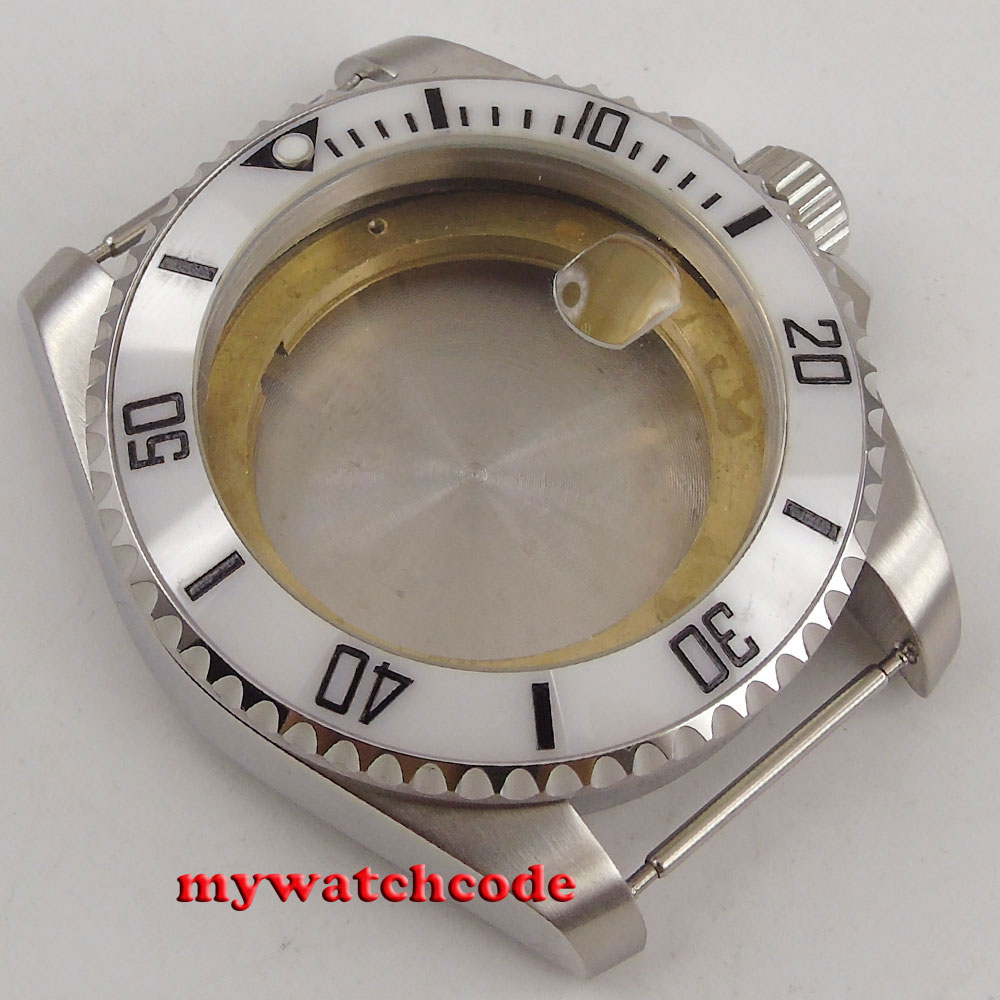 43mm sapphire glass ceramic white bezel Watch Case fit ETA 2824 2836 MOVEMENT цена и фото