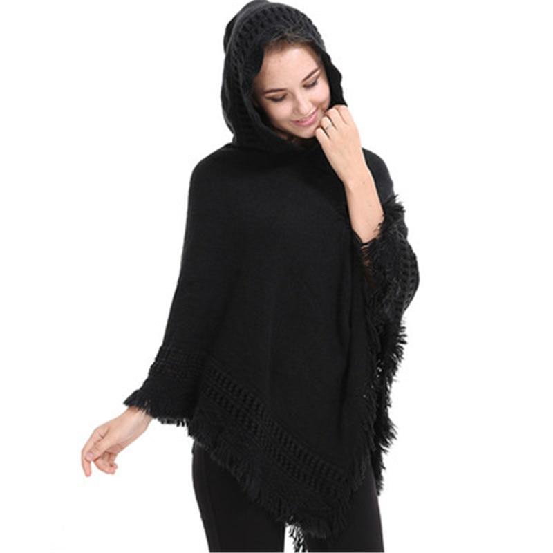 a4c4c48ce78a Casual Γυναικεία πουλόβερ με κουκούλα Poncho και ακρωτήριο πλεκτό ...