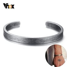 Vnox Vintage Viking Cuff Bracelets Bangles for Men Women Simple Classic Pulseras hombre Stainless Steel Male Jewelry(China)