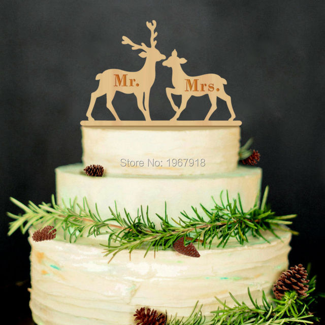 Rustic Wedding Cake Topper Wooden Mr Mrs Couple Deer Toppers Decoration