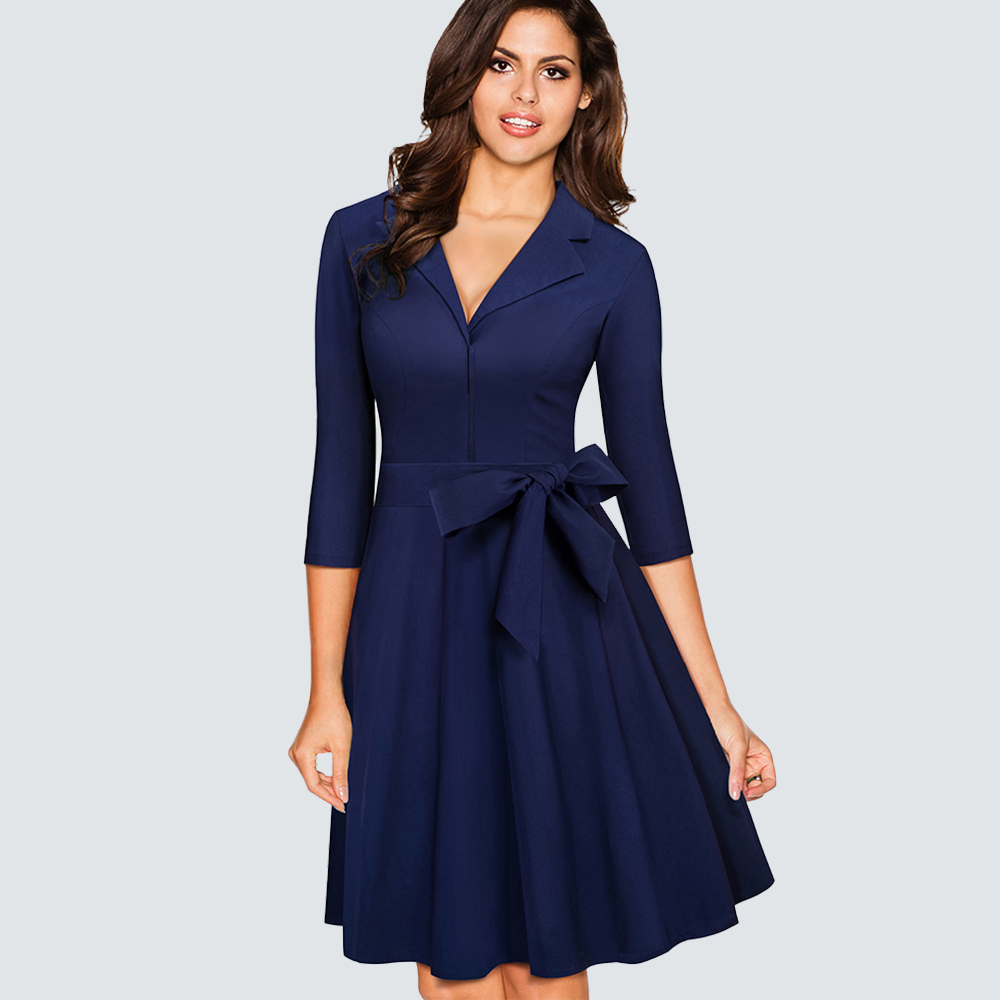 Women Vintage Work Office Business Swing A-line Dress Autumn Casual Lace Up Bodycon Lady Dress HA060