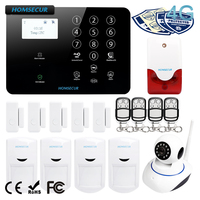 HOMSECUR Wireless&wired 4G LCD Home Security Pet Immune/Friendly Alarm System