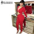FLODISS Brand New 2017 Women Red Club Mesh Jumpsuits Sexy Ladies Deep V-Neck See Through Clubwear Long Sleeve Skinny Bodysuits