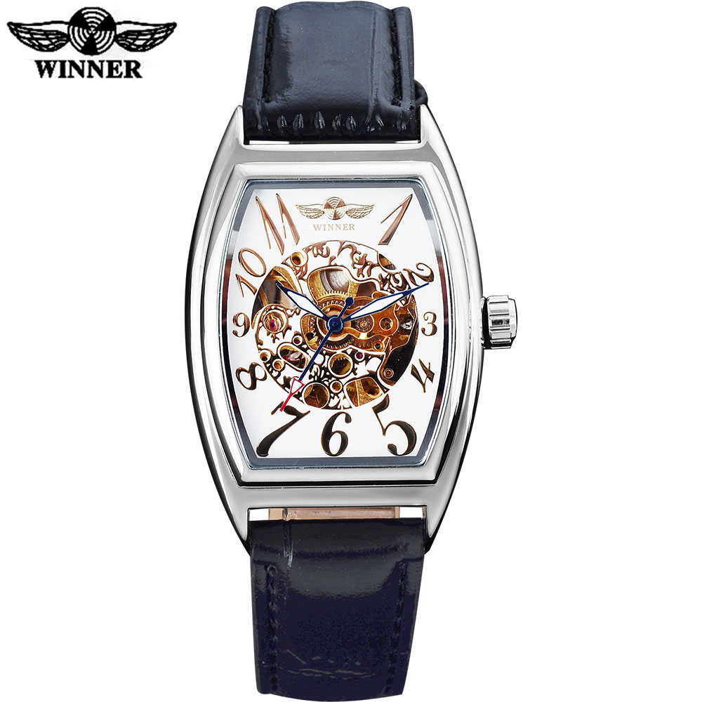 WINNER men fashion sport mechanical watches leather strap casual brand men's automatic skeleton wathces male clock montre homme