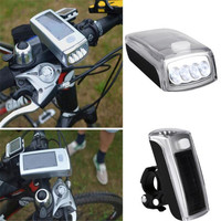 1PC Cycling Bike Head Front Light Bicycle Light Rechargeable New 4 LED Bicycle Cycling Solar Headlight