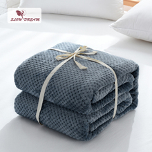 Slowdream Fashion Dark Blue Flannel Pineapple Blanket Aircraft Sofa Office Adult Car Travel Warm Throw For Couch