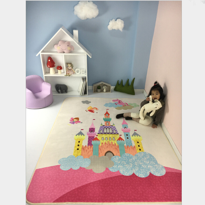 Pink Kids Rug with Castle Print Game Baby Crawling Mat Girls Best Loved Rug Tapete Carpet and Alfombra Children Room Rugs Mats