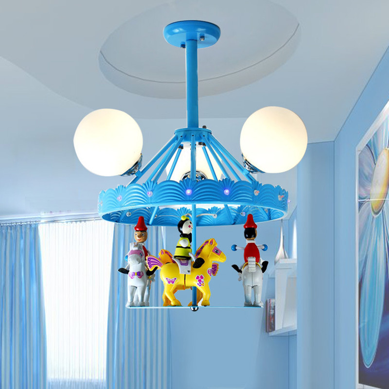 Creative Children Room Chandelier Personality LED Carousel Cartoon Lamp Bedroom Lamp Kindergarten Decoration Light Free Shipping