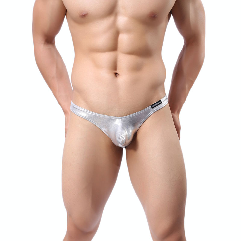Sexy Men Underwear Male Briefs Thongs Shorts Faux Leather Panties Low Waist U Convex Pouch Underpants calzoncillos Thong Briefs
