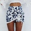 Pantalones cortos de Las Mujeres de Moda blanco Irregular corto feminino verano Diseño Casual Cintura Alta Pantalones Cortos Sueltos Falda Cómoda