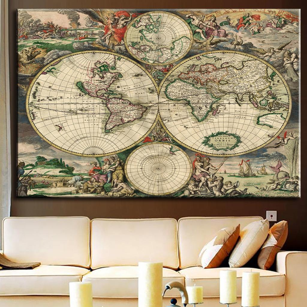 1pcsset huge picture europe old map painting exclusively amazing 1pcsset huge picture europe old map painting exclusively amazing world map very clear picture living room wall art in painting calligraphy from home gumiabroncs Images