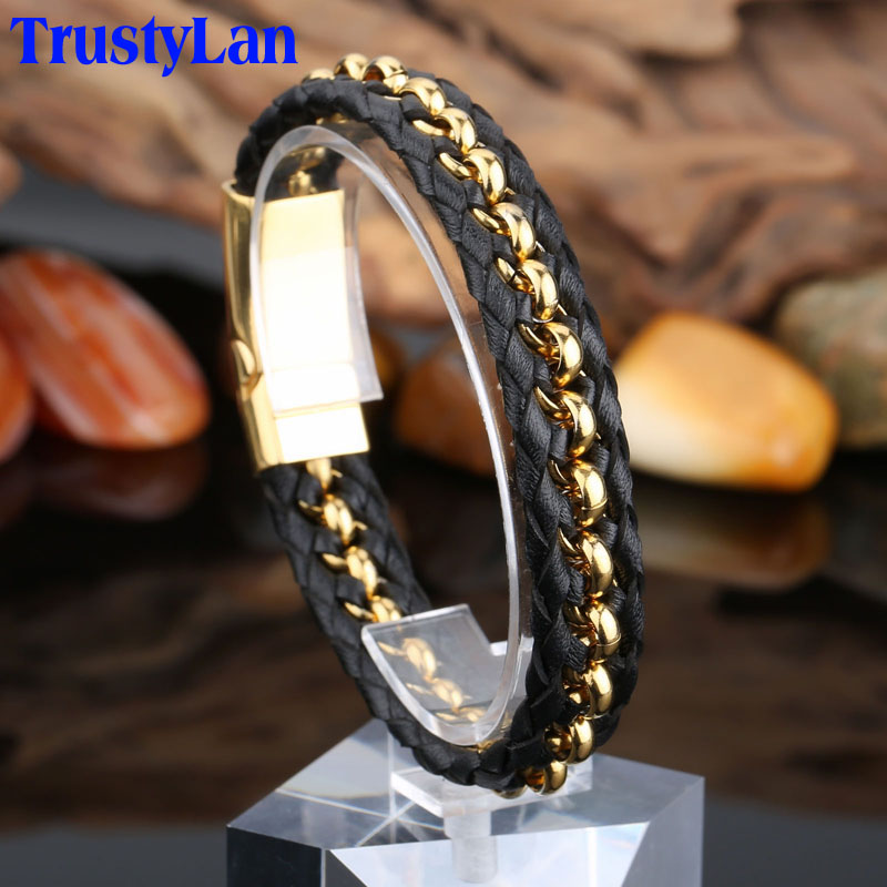 Trustylan Stainless Steel Gold Color Mens Bracelets Bangles Cool Black Leather Knitted Magnetic Clasp Bracelet Men Jewelry Gifts In Wrap From
