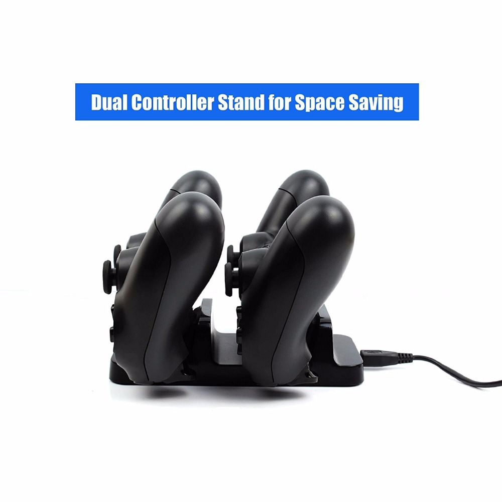 2 In 1 Mini Dual Console Charging Dock Station for PlayStation 4 PS4 Wireless Controllers USB Fast Charging Stand Bracket