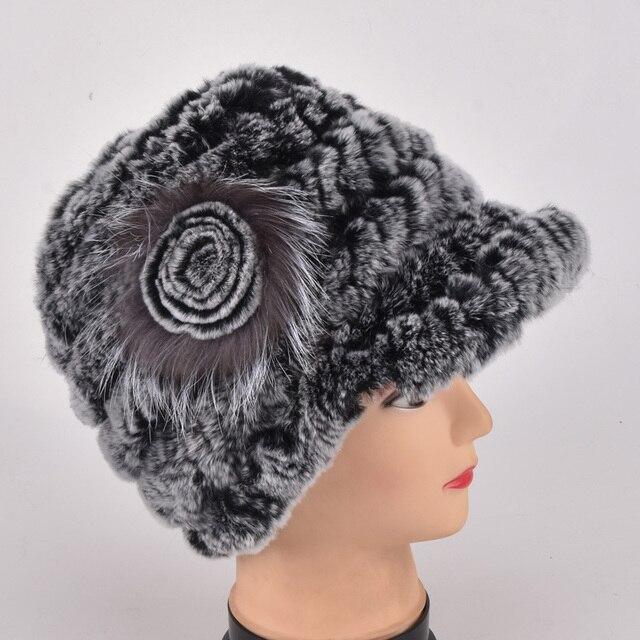a3f5ea45b3 Nowy prawdziwe futro cap lady zima naturalne prawdziwe rex kapelusz z futra  króliczego kobiety ciepłe czapki 100% prawdziwej skóry prawdziwe futro  kapelusz ...