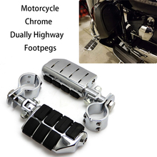 лучшая цена Motorcycle Footpegs Aluminum Chrome Foot pegs Footrest For Touring Electra Street Glide Road King FLST Softails Fatboy