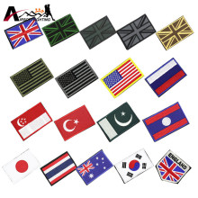 19 Styles National Flag Embroidery 3D Badge Patch Tactical Hunting Patch Armband with Sticker Backpack Badges