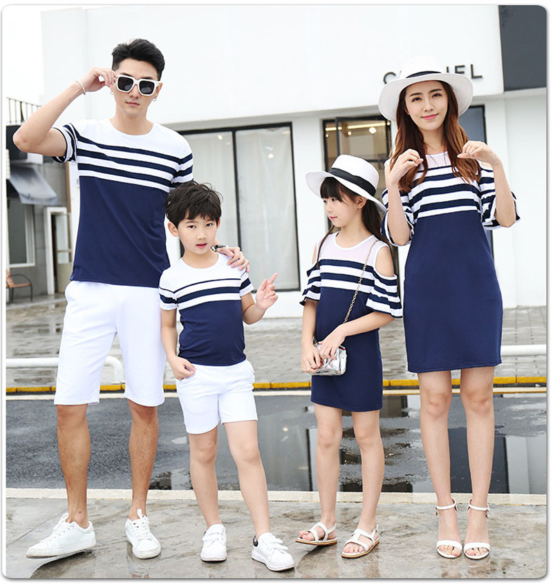 Family Matching Clothes |Striped T shirt for Men, Boy | Off Shoulder Dress for Women, Girl | Father Son Mother Daughter