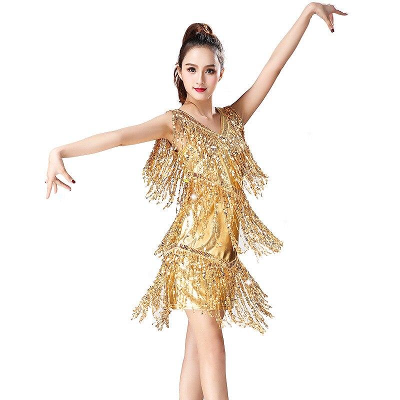 Girls Latin Dresses For Kids Children Neon Green Red Tassels Performance Competition Salsa Rumba Chacha Dance Dress