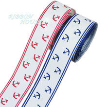 10 Meters/lot) 1 Inci (25Mm) blue Printed Grosgrain Pita Sea Anchor Series Pita Hadiah Membungkus Pita(China)
