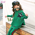 2017 spring & autumn children suit girl's Bat sleeves T-shirt + Skirt pants 2pcs suit Middle child casual two set