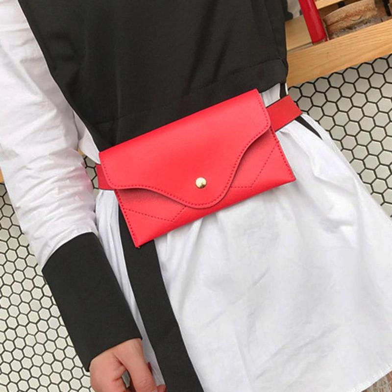 Simple Classic Women PU Leather Waist Pack Pouch Pure Color Purse Casual Belt Bag Fashion Female Vintage Fanny Pack Wallet Purse