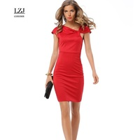 LZJ Summer Dress Women S Knee Length Tight Office Dress Short Sleeve V Collar Bandage Bodycon