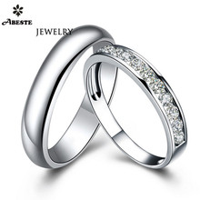 цены ANI 18K White Gold (AU750) Engagement Rings Natural Certified I-J/SI 0.6 CT Round Cut Diamond Wedding Band Couple Ring for Lover
