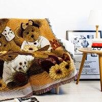 Tassels Three Panda Soft Sofa Blanket Throws Rugs Sofa Cover Chair Cover Table cover Home Decor 125x150cm