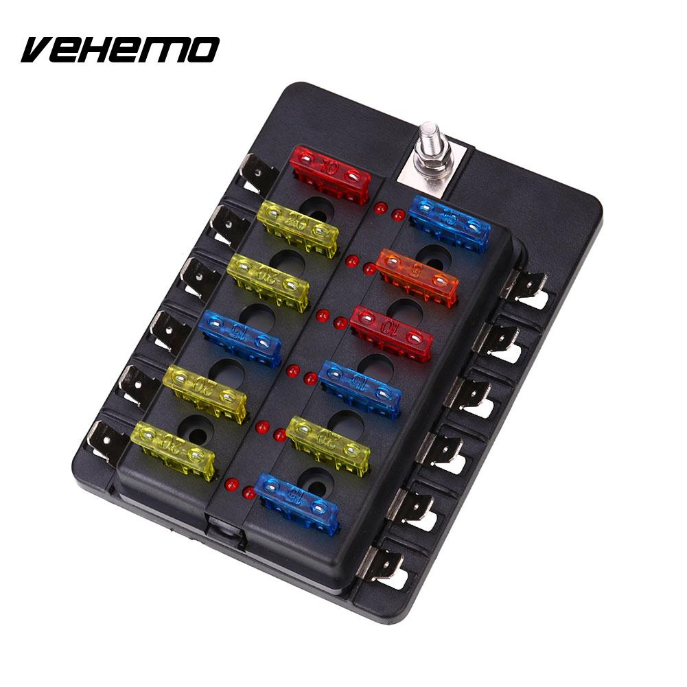 Vehemo Fuse Box 12Way Indicator Light PC Wiring Terminal Fuse Kit Safety ABS Black