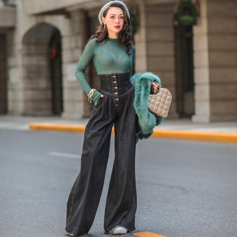 Le palais cru 2018FW Faux Ceinture Vintage Large Jambe Pantalon Femmes Jeans Slim de Grande Hauteur Boutons Jeans pas Extensible