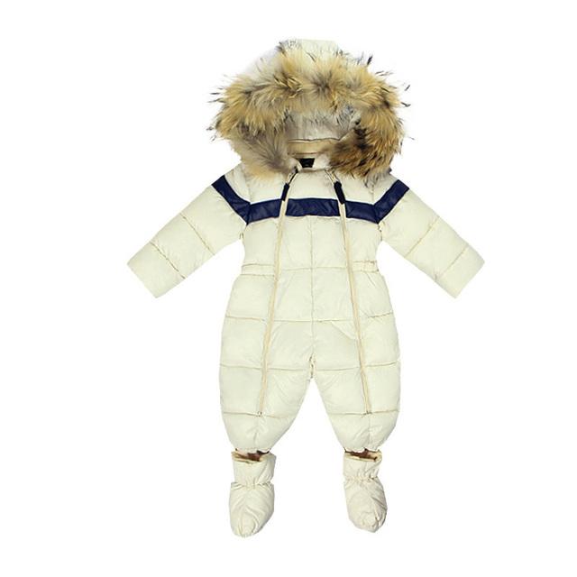2017 Nova Moda Das Meninas Do Bebê Romper para Recém-nascidos Roupas de Inverno Quente Para Baixo Casacos de Algodão Macacão Térmico Outerwear Roupas Do Menino Do Miúdo