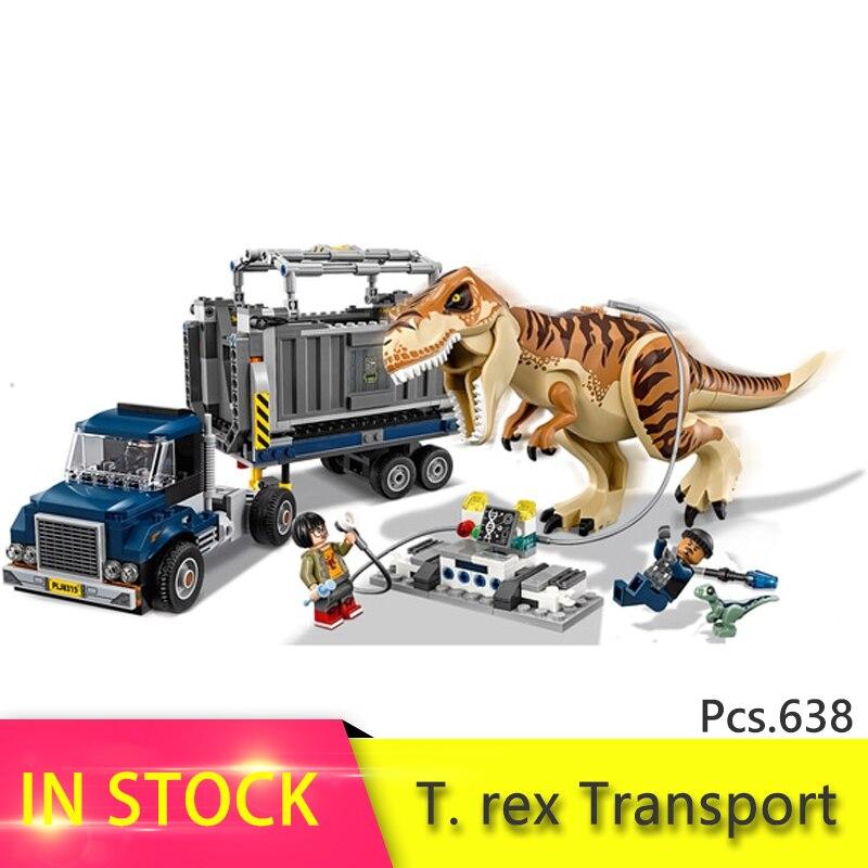 Legoing Jurassic World series T. rex transporte modelo bloque de construcción ladrillo juguete para niños cumpleaños regalo compatible 75933