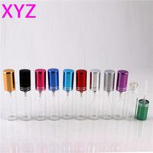 Xyz frasco de vidro vazio, frasco de vidro colorido, 5 ml, 10 ml, com atomizador, cosméticos vazios para viajar